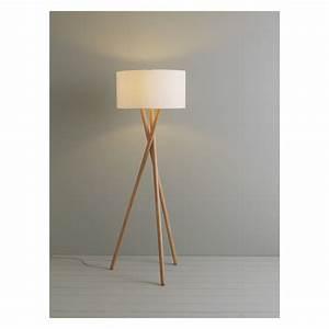 Lansbury ash wooden tripod floor lamp base wooden tripod for Floor lamp wooden legs