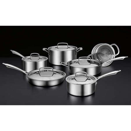 cuisinart  piece professional series triple ply stainless steel cookware set walmart canada