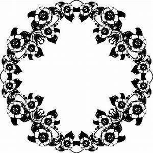 Clipart - Vintage Black And White Floral Design
