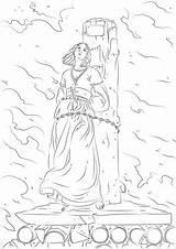Joan Arc Coloring Burning Stake sketch template
