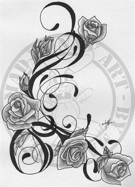Tribal Vines With Roses | Rose tattoos, Flower vine tattoos, Rose vine tattoos