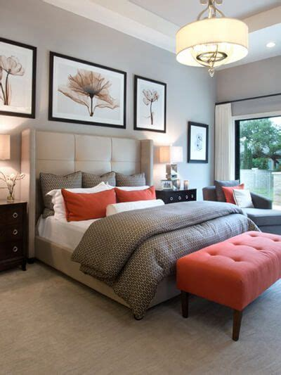 Burnt Orange Bedroom Ideas by Neutral Bedroom With Burnt Orange Accents Gray Master
