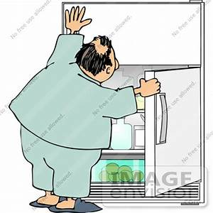 Man Holding Open a Fridge Door, Looking For a Snack ...