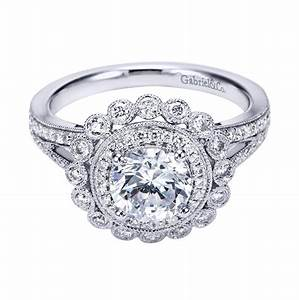 gabriel co 14k white gold victorian halo engagement ring With halo engagement ring with wedding band