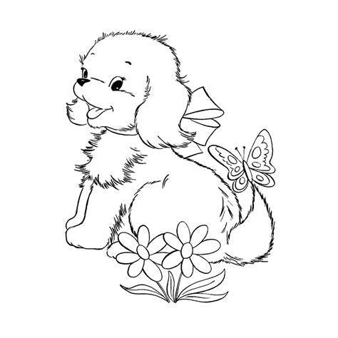 Kleurplaten Puppies leuk voor puppy in de tuin