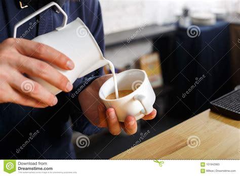 Closeup Barmen Pouring Milk Cappuccino Cup Stock