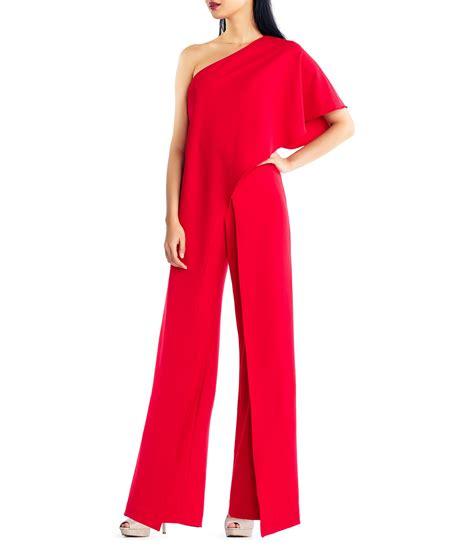 s dress jumpsuits papell crepe one shoulder jumpsuit dillards