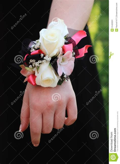 to be corsage pink black and white prom corsage stock image image