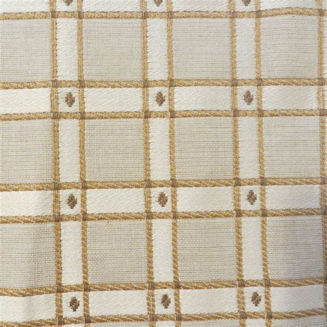 plaid drapery fabric designer fabric gold ivory plaid cotton drapery