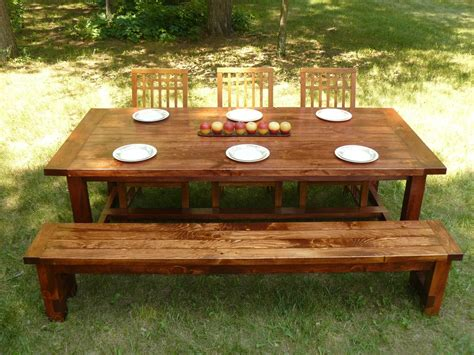 farm style table with bench custom made farmhouse style dining table and bench by