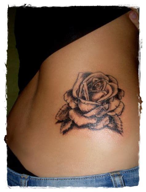 realistic big detailed black ink rose tattoo  waist tattooimagesbiz