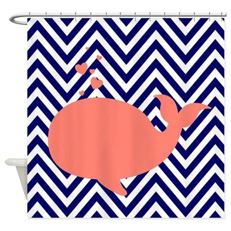 navy chevron curtains navy chevron with coral whale shower curtain by