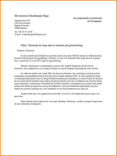 lettre motivation master lettre motivation stage jaoloron
