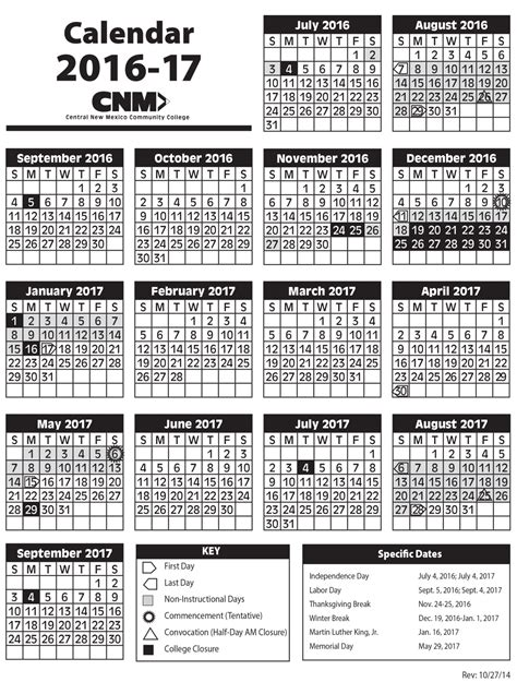 academic calendars central mexico community college