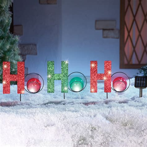 solar lighted holiday ho ho ho outdoor yard lawn stake