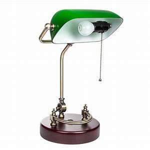 Lampe Mit Holzfuß : bankerlampe gr n retro tischlampe mit verziertem holzfu leuchtmittel ~ Eleganceandgraceweddings.com Haus und Dekorationen