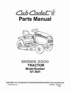Cub Cadet Parts Manual Model No  Gt 2521