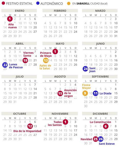 calendario laboral sabadell todos los festivos
