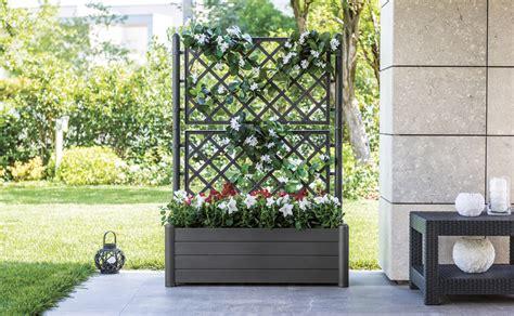 bac 224 fleurs italia rectangulaire anthracite avec treillage oogarden