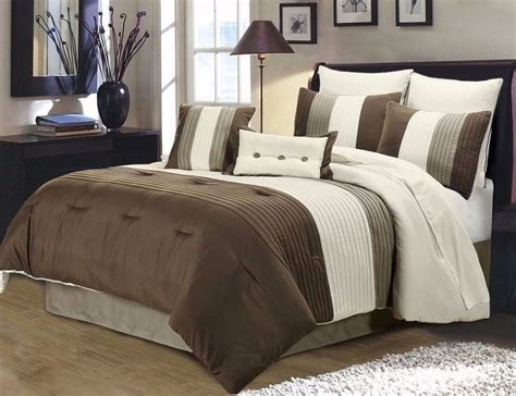 gray king comforter 8pc pintuck pleated stripe brown ivory and taupe