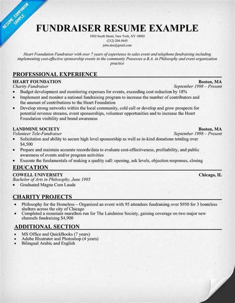 fundraiser resume resume samples   industries