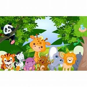 decoration murale papier peint personnalise tapisserie With tapis chambre bébé avec fleurs de bach et animaux