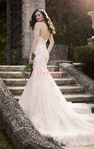 Strapless Sweetheart Neckline Long Tail Mermaid Lace ...
