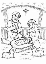 Jesus Coloring Born Manger Nativity Birth Drawing Pages Christmas Printable Mary Popular sketch template
