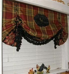 Kitchen Bay Window Treatment Ideas - french country kitchen window treatments on french rooster spice plaid balloon valance curtain