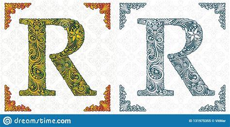 vector letter  patterned font monogram unique ornamental alphabet spring leaf pattern