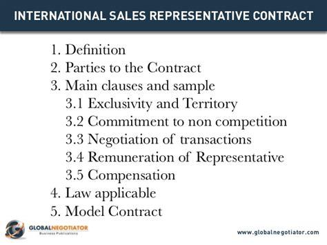 international sales representative contract contract