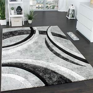 designer teppich grau schwarz creme meliert design teppiche With balkon teppich mit design tapete grau