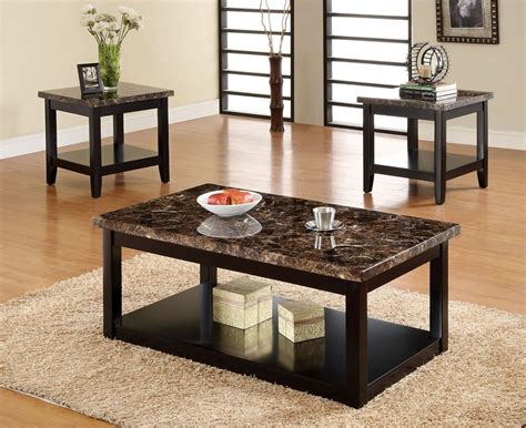 fake marble table tops 3pc lawndale faux marble top solid wood black finish