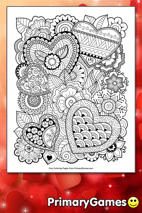 zentangle hearts coloring page printable valentines day coloring  primarygames