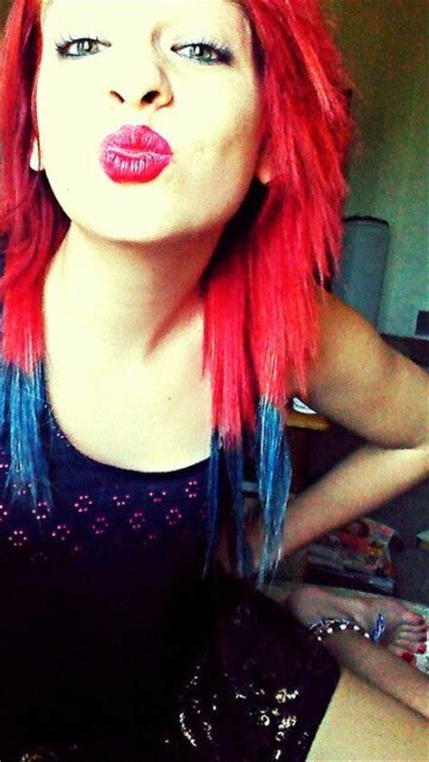 red hair  blue tips colorfulhair  hair  makeup