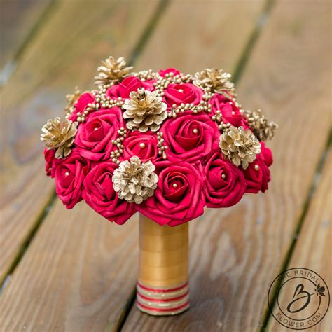Red And Gold Pine Cones Winter Holiday Wedding Bouquet