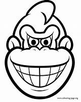 Donkey Kong Coloring Pages Face Colouring Mask Diddy Mario Printable Super Colored Fun Then Nintendo Sheets Masks Popular Getcoloringpages Coloringhome sketch template