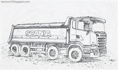 draw scania euro  dump truck wood art dump trucks drawings cars coloring pages