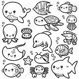 Coloring Ocean Animals Pages Printable Animal Sheet sketch template