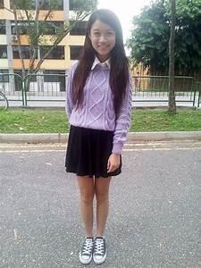 ElaineChianhui Tan - Forever 21 White Collar Blouse Hu0026M Lilac Knitted Sweater Hu0026M Black Skater ...
