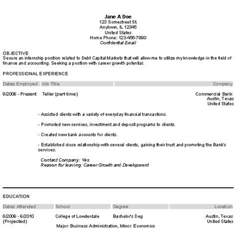 Internship Objective On Resume by Internship Resume Objective Exles