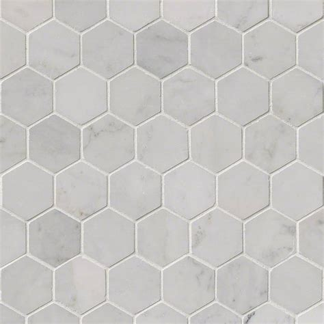 carrara white 2 quot hexagon polished mosaics