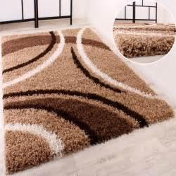teppich fã r wohnzimmer shaggy braun beige gemustert hochflor teppiche