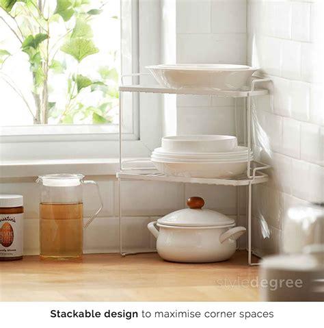 stackable corner rack organizer kitchen cabinet style degree