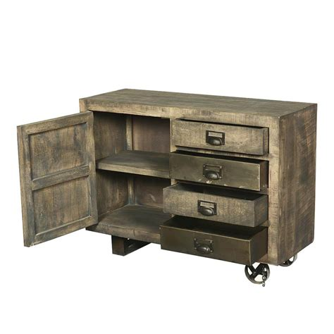 wood storage cabinet moreland rustic solid wood 4 drawer industrial cart