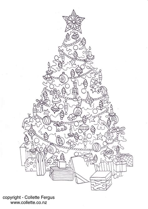christmas tree adult colouring page designed
