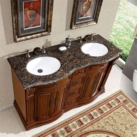 55 Inch Double Sink Vanity with Baltic Brown Top and