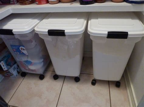 bulk storage containers for kitchen food see how this uses our rolling pet food containers 9338