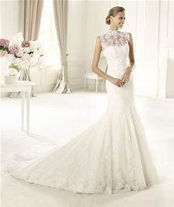 romantic fitted mermaid trumpet high neck illusion back With high neck lace wedding dress