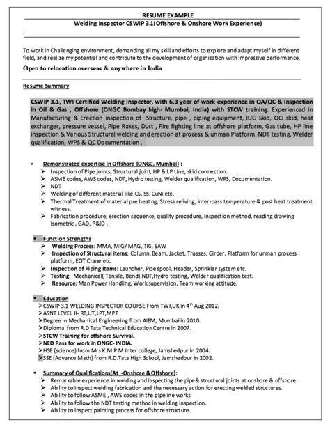 Welding Inspector Cv Sle by Welding Inspector Resume Http Resumesdesign